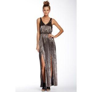 BCBG Metallic Maxi Low Back Double Slit Dress